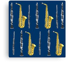 Musical Instruments on Royal Blue Background Christmas Gift Idea Canvas Print
