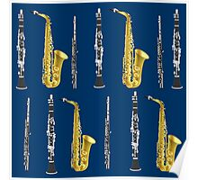 Musical Instruments on Royal Blue Background Christmas Gift Idea Poster