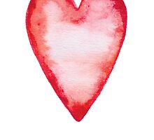 Red watercolor love heart - forever by MheaDesign