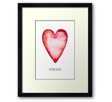 Red watercolor love heart - forever Framed Print