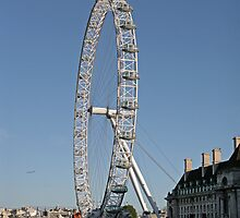 Blue sky over the London eye on the southbank in London by Keith Larby