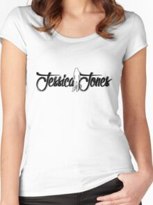 Jessica Jones with shadowy letters and sillouette Women's Fitted Scoop T-Shirt