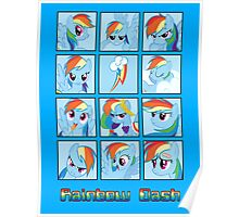 Faces of Rainbow Dash Poster