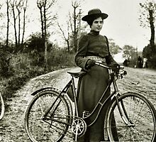 Young woman with pushbike by © Kira Bodensted