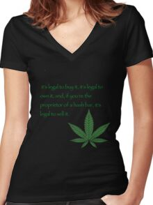 it's legal to buy it, it's legal to own it, and, if you're the proprietor of a hash bar, it's legal to sell it. - Pulp fiction Women's Fitted V-Neck T-Shirt