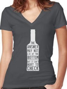 The answer may not lie at the bottom but it can't hurt to check  Women's Fitted V-Neck T-Shirt