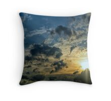 Sun setting behind the stormy clouds Throw Pillow