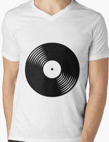 Black Vinyl Mens V-Neck T-Shirt