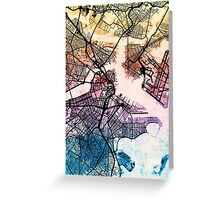 Boston Massachusetts Street Map Greeting Card