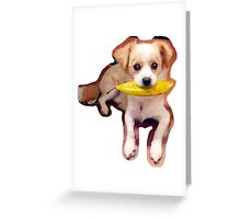 Puppy with Leaf Greeting Card