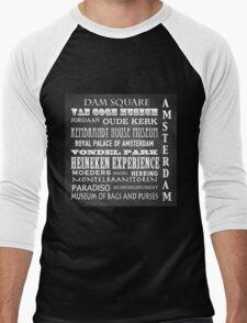 Amsterdam Famous Landmarks Men's Baseball ¾ T-Shirt