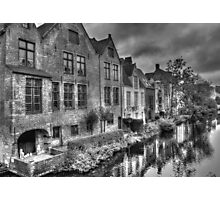 Bruges Canal In Black and White Photographic Print