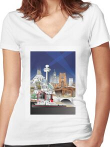 liverpool uk Women's Fitted V-Neck T-Shirt