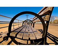Coney Island Boardwalk Bench Photographic Print
