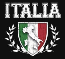 ITALIA - Classic Itlay Flag Crest (Vintage Distressed Design) Kids Clothes