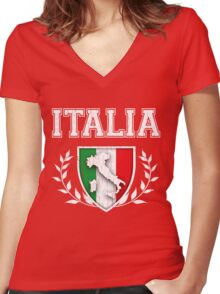 ITALIA - Classic Itlay Flag Crest (Vintage Distressed Design) Women's Fitted V-Neck T-Shirt