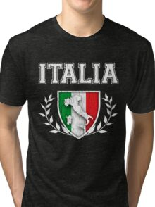 ITALIA - Classic Itlay Flag Crest (Vintage Distressed Design) Tri-blend T-Shirt