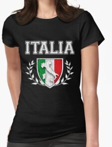 ITALIA - Classic Itlay Flag Crest (Vintage Distressed Design) Womens Fitted T-Shirt