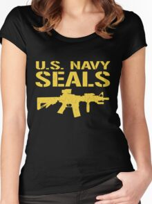 US Navy Seals with M4 Carbine (Distressed Design) Women's Fitted Scoop T-Shirt
