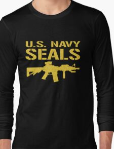 US Navy Seals with M4 Carbine (Distressed Design) Long Sleeve T-Shirt