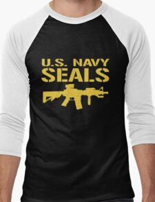 US Navy Seals with M4 Carbine (Distressed Design) Men's Baseball ¾ T-Shirt
