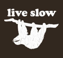 Cute Sloth - Live Slow (Vintage Distressed Design) by robotface