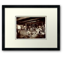 Cabinet Card: 19th Century Pattern Makers: Water Wheel and Bicycles Framed Print
