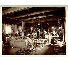 Cabinet Card: 19th Century Pattern Makers: Water Wheel and Bicycles Photographic Print
