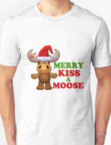 Cute Merry Kiss A Moose Christmas T-Shirt