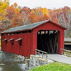 Cataract Covered Bridge and Fall Foliage by Kenneth Keifer