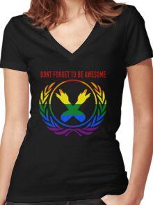 DFTBgAy Women's Fitted V-Neck T-Shirt