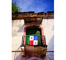 Panama Old Door and Flag Photographic Print