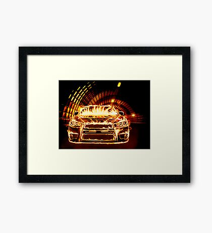 Sports Car in Flames art photo print Framed Print