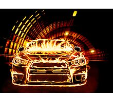 Sports Car in Flames art photo print Photographic Print