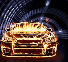 Sports Car in Flames art photo print by ArtNudePhotos