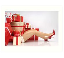 Woman Buried under Christmas Gifts holiday shopping art photo print Art Print