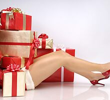 Woman Buried under Christmas Gifts holiday shopping art photo print by ArtNudePhotos