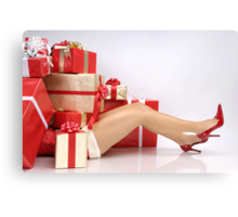 Woman Buried under Christmas Gifts holiday shopping art photo print Canvas Print