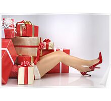 Woman Buried under Christmas Gifts holiday shopping art photo print Poster