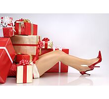 Woman Buried under Christmas Gifts holiday shopping art photo print Photographic Print