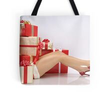 Woman Buried under Christmas Gifts holiday shopping art photo print Tote Bag