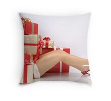 Woman Buried under Christmas Gifts holiday shopping art photo print Throw Pillow