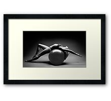 Woman Blanacing on Fitness Ball art photo print Framed Print