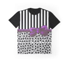 Ribbon, Bow, Dog Paws, Stripes - White Black Purple Graphic T-Shirt
