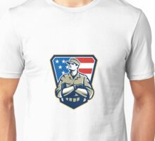 American Soldier Arms Folded Flag Retro Unisex T-Shirt