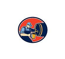 Brewer Bartender Pour Beer Pitcher Barrel Retro Photographic Print