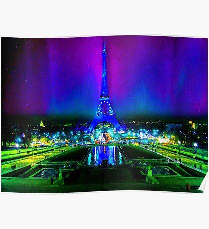 Northern Lights Descend on Paris Poster