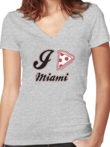 I Love Pizza Miami Women's Fitted V-Neck T-Shirt