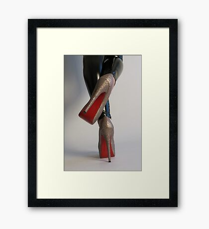 Black wetlook leggings and mega high heels Framed Print