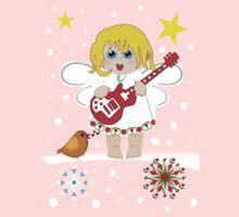 Music Christmas Angel Tee One Piece - Long Sleeve